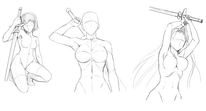 how to draw anime poses horizontal